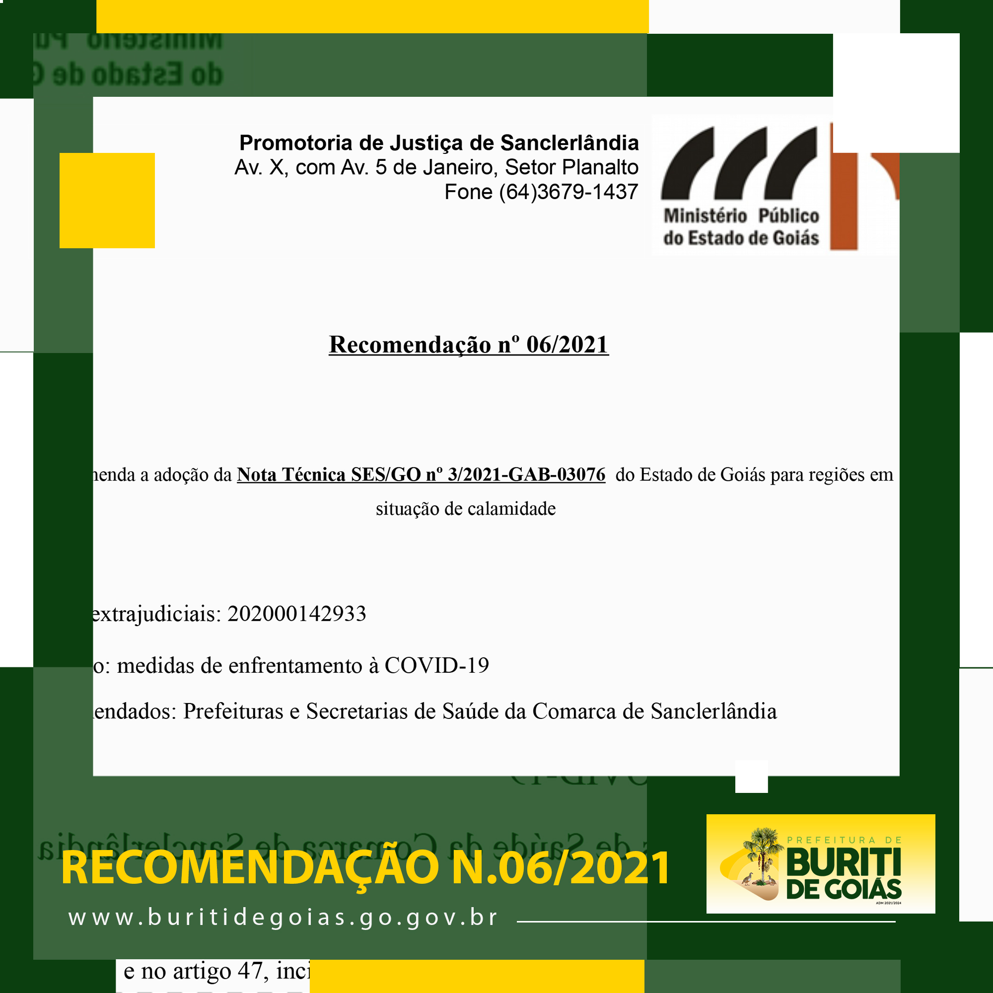 RECOMENDAÇÃO 06/2021 – PROMOTORIA DE JUSTIÇA DE SANCLERLÂNDIA
